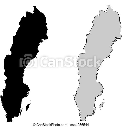 Sverige Karta Clipart.Projection Map Sverige Svart White Mercator