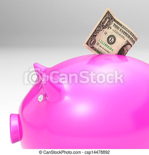 projection, piggybank, dollar, économies, entrer - csp14478892