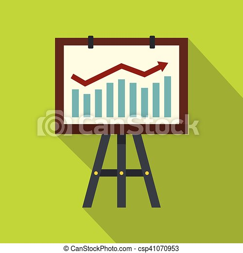 Projection screen with a graph icon, flat style - csp41070953