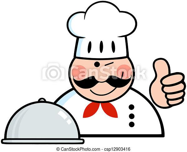 projection, winked, haut, chef cuistot, pouces, logo - csp12903416