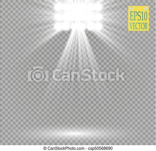 projector., concert, exposition, étincelles, lumière, éclairé, scène, effet, arrière-plan., vecteur, stade, projecteur, blanc, lueur, transparent, ray., salle - csp50568690