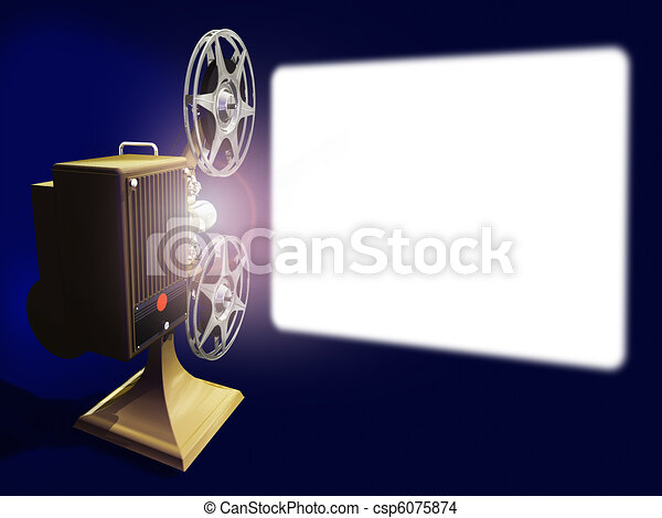 Projector film and white screen - csp6075874