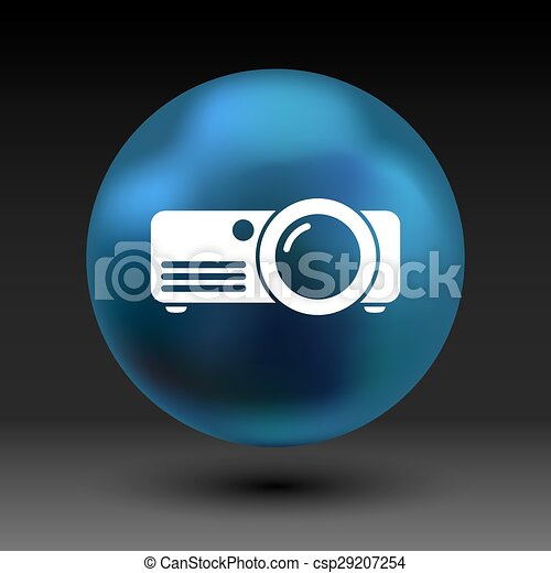 projector icon Rounded squares button vector symbol - csp29207254