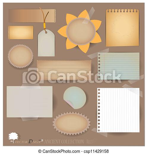 projects), vektor, scrapbooking, levelezőlap, designs., tiszta, -e, (variety, alaprajz, dolgozat, szüret, elvet, vagy, set: - csp11429158