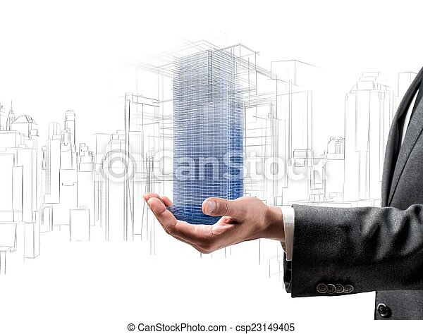 Futuristisches Projekt eines Gebäudes - csp23149405