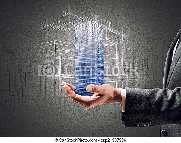 Futuristisches Projekt eines Gebäudes - csp21307336