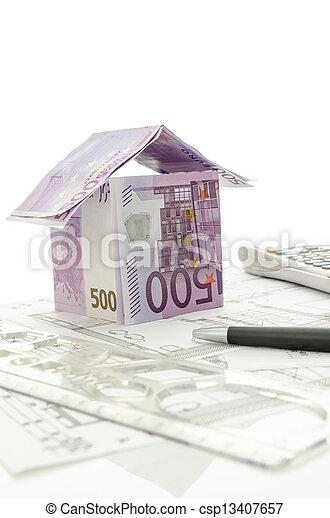 projekt, pengar, gjord, arkitektonisk, hus - csp13407657