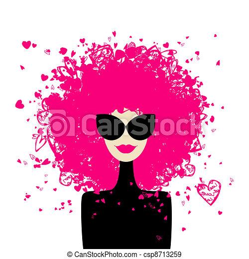 projektować, kobieta, fason, twój, portret - csp8713259