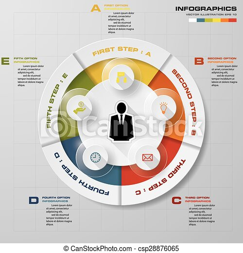 projektować, wektor, kroki, infographics, 5 - csp28876065