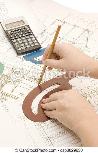 projet, crayon, main - csp3029630