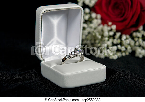 Promise ring. Diamond ring in box on black velvet. stock photo ...