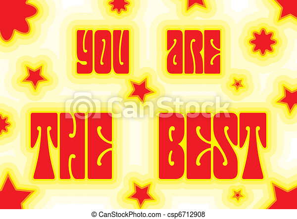 """Promo placard with words """"You are the best"""" decorated with red and white colors, vector illustration - csp6712908"""
