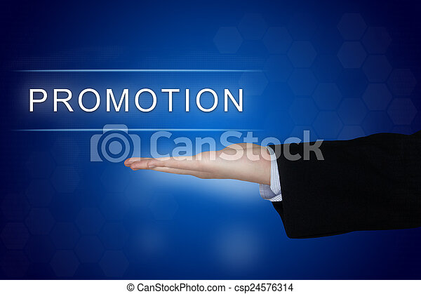 promotion button on blue background - csp24576314