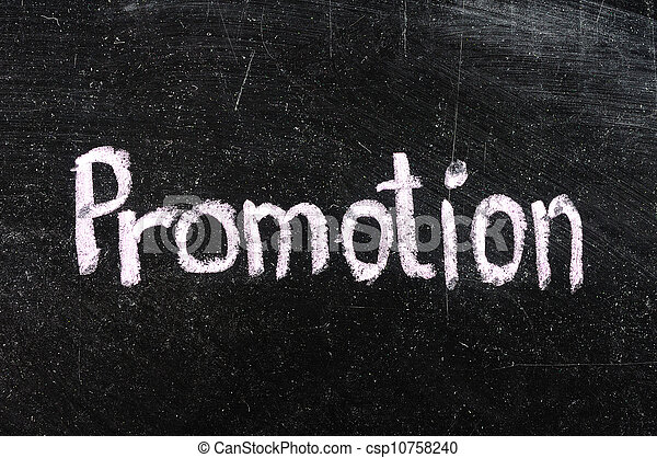 Promotion handwritten with white chalk on a blackboard - csp10758240