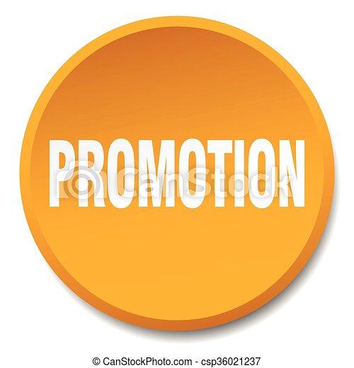 promotion orange round flat isolated push button - csp36021237