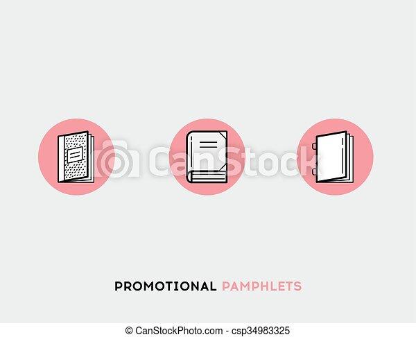 Promotional pamphlets flat illustration Set of line modern icons - csp34983325