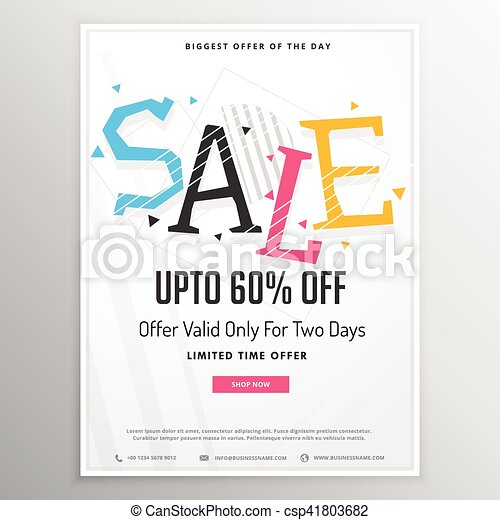 promotional sale brochure template for marketing with colorful sale