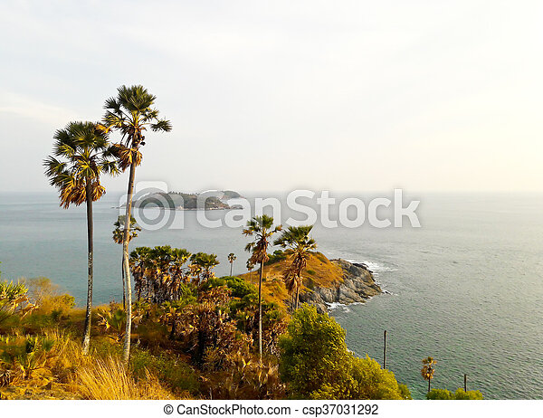 Promthep Cape is a mountain of rock that extends into the sea in Phuket, Thailand. - csp37031292