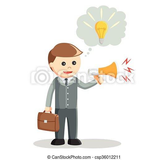 promuovere, idea, uomo affari - csp36012211