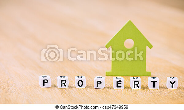 Property Word Of Cube Letters In Front Of Green House Symbol On