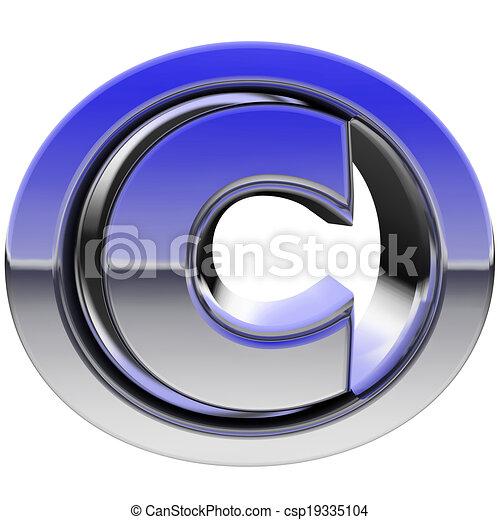 Signo de derechos de autor cromado con reflejos de color aislados en blanco - csp19335104