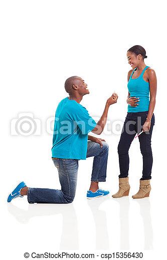 proponujący, człowiek, ona, afrykanin, kiedy, brzemienny, sympatia - csp15356430