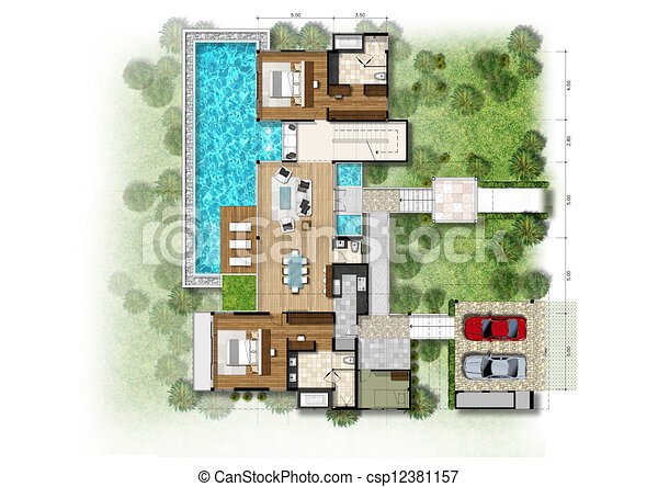 Proposal Of Planning House With With Green Area Stock Illustrations