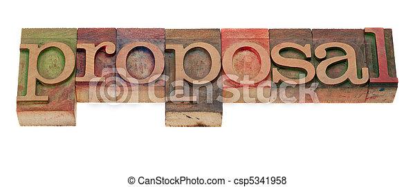 proposal word in letterpress type - csp5341958
