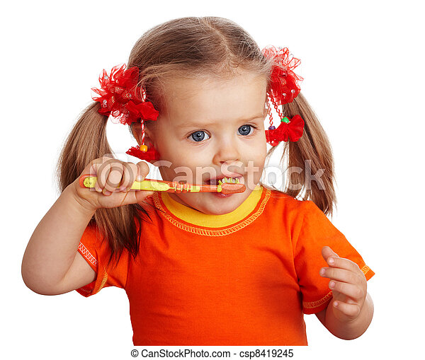 propre, girl, brosse, teeth., enfant - csp8419245