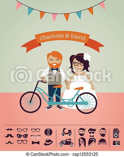 propre, invitation, -, hipster, mariage, conception, ton, carte - csp12553125