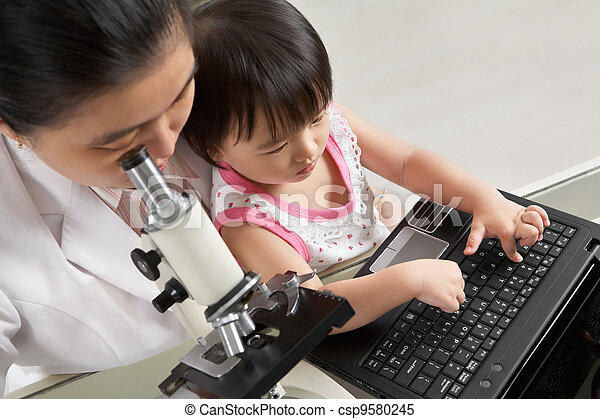 propre, leur, occupé, fille, mère - csp9580245