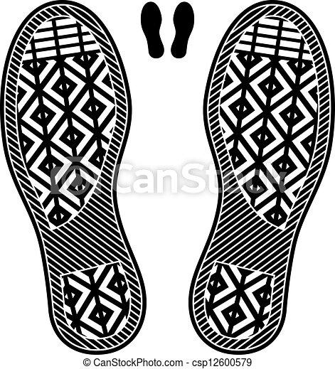 propre, vecteur, chaussure, estampiller - csp12600579