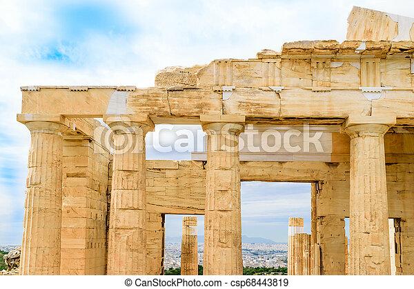 Propylaea monumental gateways to Acropolis in Athens - csp68443819