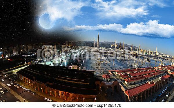 prorok, noc, meczet, dzień, & - csp14295178