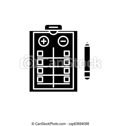Pros and cons list black icon, vector sign on isolated background. Pros and cons list concept symbol, illustration - csp63694098