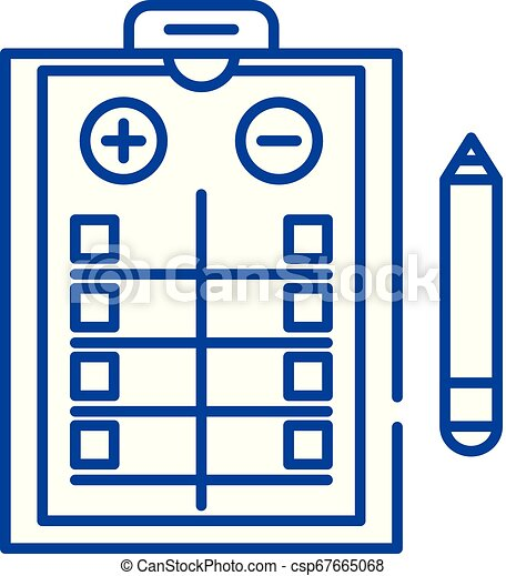 Pros and cons list line icon concept. Pros and cons list flat vector symbol, sign, outline illustration. - csp67665068