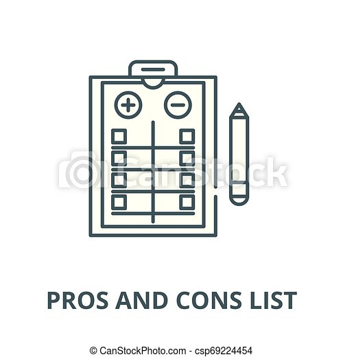 Pros and cons list vector line icon, linear concept, outline sign, symbol - csp69224454