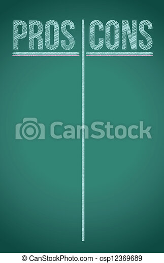 Pros and Cons List written in white chalk - csp12369689