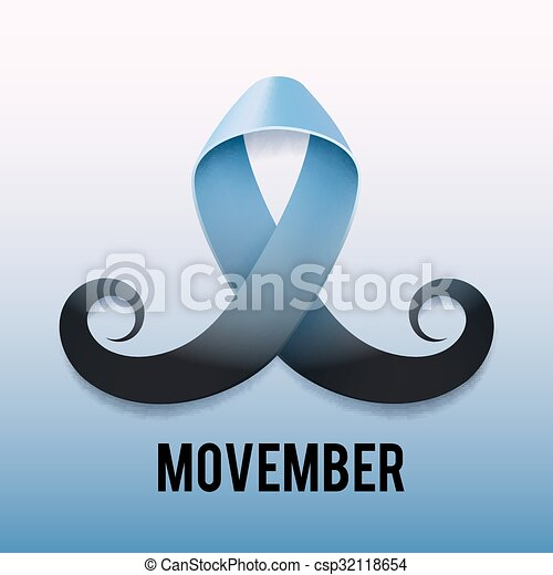 prostate cancer ribbon awareness light blue ribbon with mustache