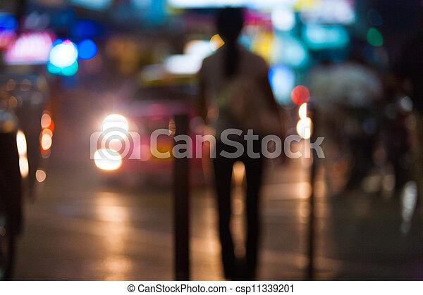 prostituierte, fokus, straße, nacht, scheinwerfer - csp11339201