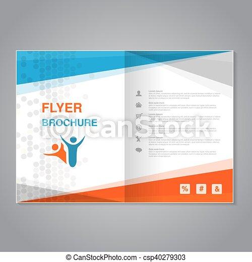 prosty, abstrakcyjny, nowoczesny, aspekt, szablon, stosunek, kropkowany, pomarańcza, biały, design., błękitny, afisz, color., szary, lotnik, a4, układ, size., magazyn, wektor, cover., broszura - csp40279303