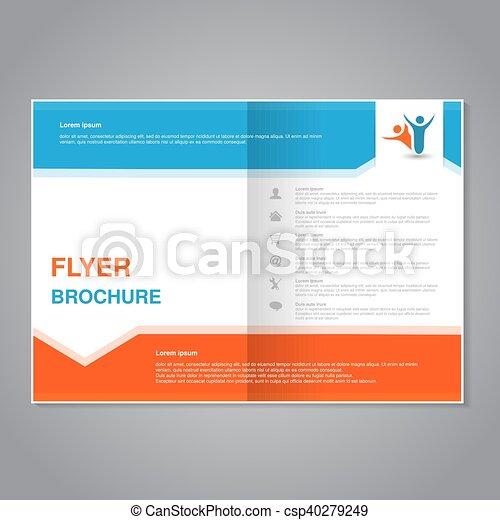 prosty, abstrakcyjny, nowoczesny, pomarańcza, aspekt, design., układ, arrow., szablon, size., błękitny, afisz, color., lotnik, a4, stosunek, biały, szary, magazyn, wektor, cover., broszura - csp40279249