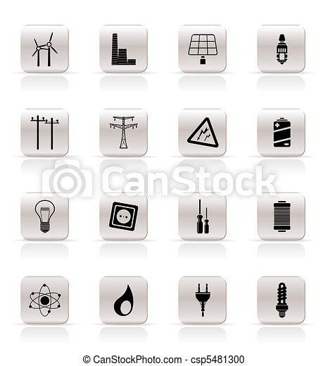 prosty, elektryczność, ikony - csp5481300