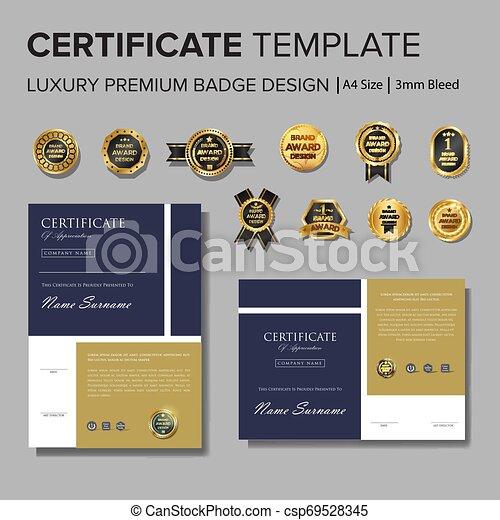 prosty, projektować, wektor, odznaka, świadectwo - csp69528345