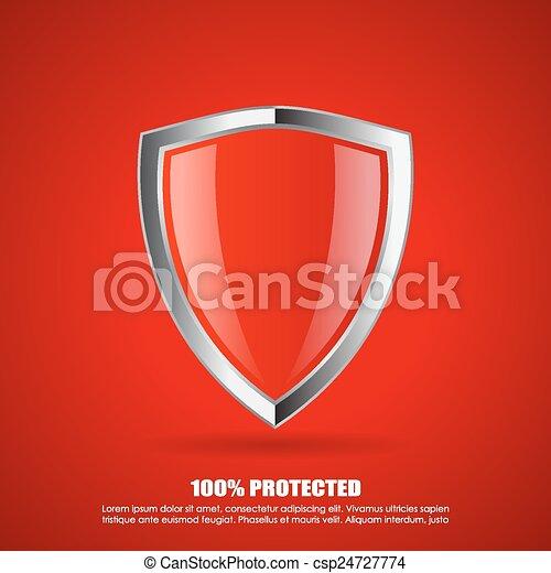 proteção, escudo, vermelho, ícone - csp24727774