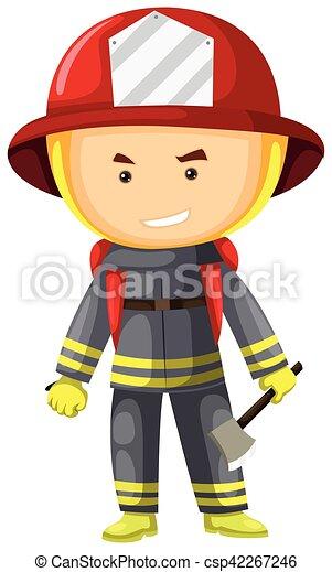 Bombero en traje de protección - csp42267246