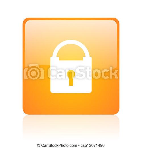 protect orange square glossy web icon - csp13071496