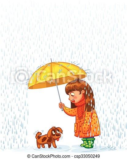 Protect pet from autumn rain - csp33050249