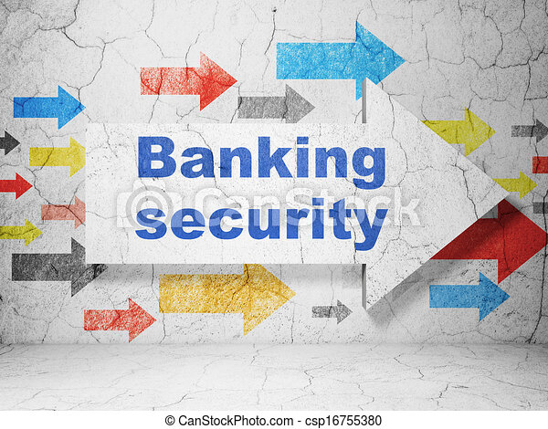 Protection concept: arrow whis Banking Security on grunge wall background - csp16755380