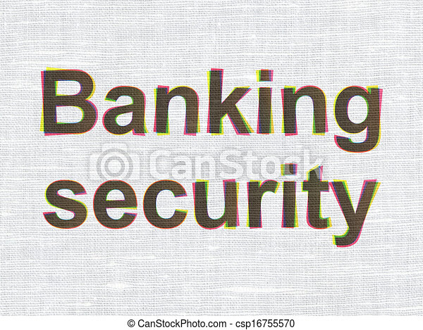 Protection concept: Banking Security on fabric texture background - csp16755570